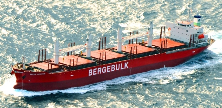 Our fourth handy-size vessel, Berge Annupuri (34,000 DWT) departing Namura Shipyard in Japan for her sea trial in January 2016.